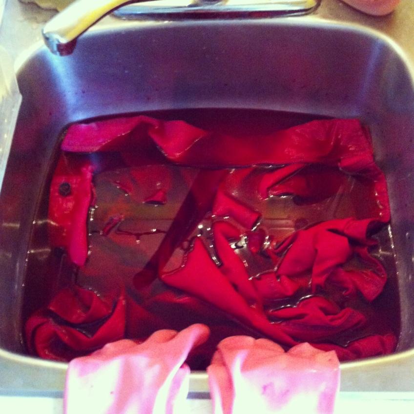 Fight Boredom with Fashion: Dyeing a denim vest in my kitchen sink.